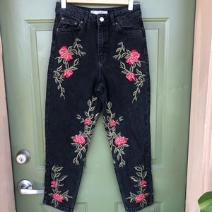 TopShop Rose Embroidered Moto Mom Jeans
